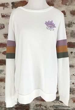 """Evil Eye"""" Ladies Sweatshirt With Color Block Sleeve Yoke"""