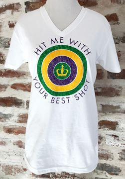 """Hit Me With Your Best Shot"" White Sueded Unisex V-Neck Tee"