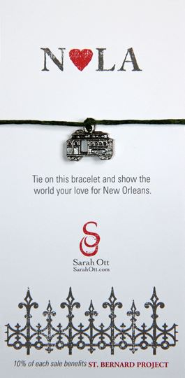 """NOLA Love"", New Orleans Streetcar Dark Green String Bracelet"