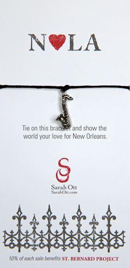 """""""NOLA Love"""", Saxophone Black String Bracelet"""