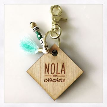 NOLA or Nowhere Stamped Wooden Keychain with Tassel