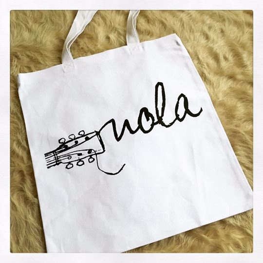 NOLA Strings White Cotton Tote Bag