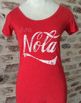 Vivre NOLA Vintage Red Ladies Tri-blend Scoop Neck Tee