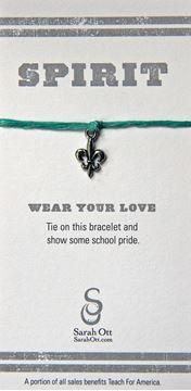 Fleur De Lis, Tulane Turquoise Linen String Bracelet