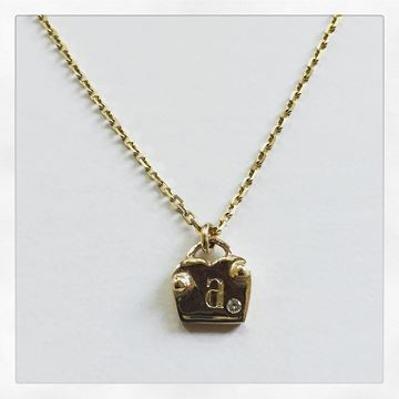"""Love Locks"" 10KY Gold Charm Necklace, with .9mm Beveled Edge Cable Chain 16"""