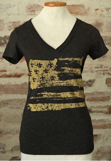 Gold Fleur De Lis Flag Black Ladies Tri-blend Deep V-Neck Tee