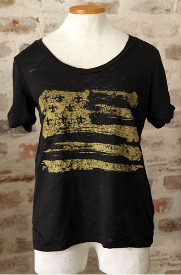 Gold Fleur De Lis Flag Wide U Neck Black Burnout Tee