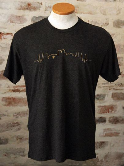 NOLA Skyline Unisex Tri-Blend Black Crew Neck Tee