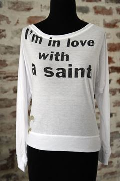I'm In Love With a Saint Women's White Long-Sleeve Dolman Top
