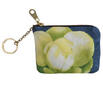 Spring Magnolia Floral Printed Canvas Keychain Pouch