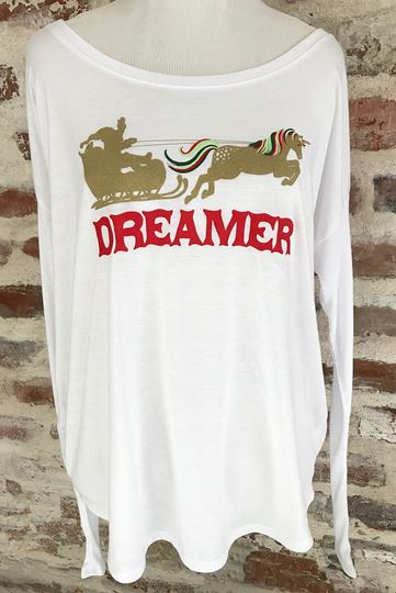 """Dreamer Santa"" Ladies' Flowy Long-Sleeve Tee"