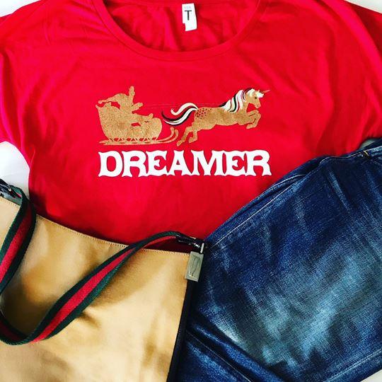 """Dreamer Santa"" Womens Dolman Tee"