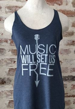 Music Will Set Us Free Indigo Blue Ladies Tri-blend Racerback Tank