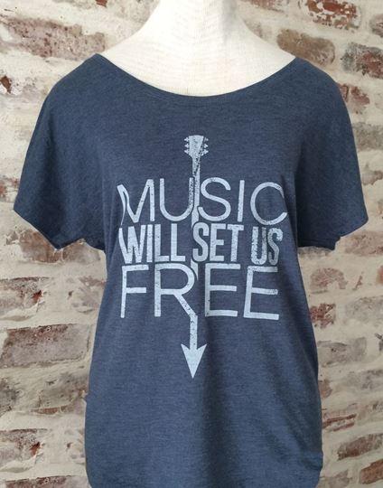 Music Will Set Us Free Indigo Blue Tri-Blend Dolman Tee
