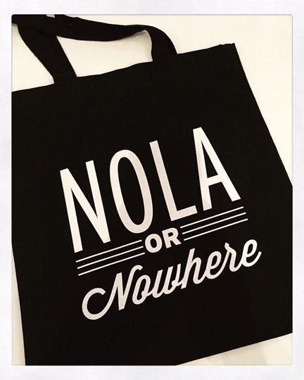 NOLA or Nowhere Black Cotton Tote Bag
