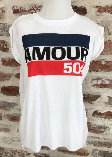 """AMOUR 504"" Ladies' Flowy Muscle Tee with Rolled Cuff"