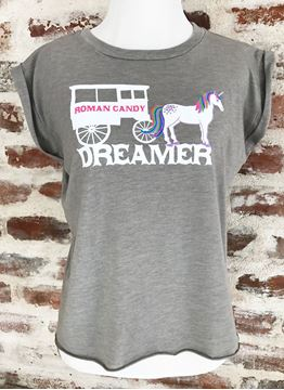 """Dreamer"" Ladies' Flowy Muscle Tee with Rolled Cuff"