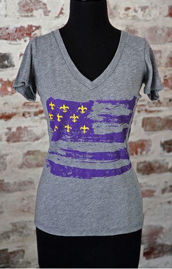 Purple & Gold Fleur De Lis Flag Ladies Tri-blend Deep V-Neck Tee