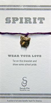 Tiger Head Purple Linen String Bracelet