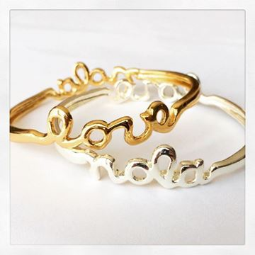 """NOLA - LOVE"" Gold Plated Bangle Bracelet"