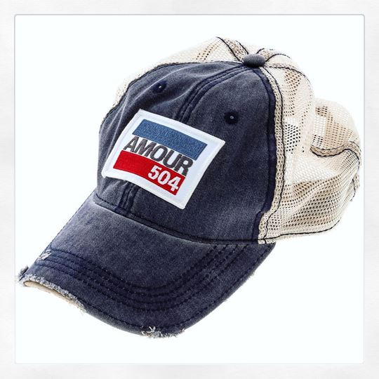 """Amour 504"" Vintage Navy Cotton White Tint Trucker's Hat"