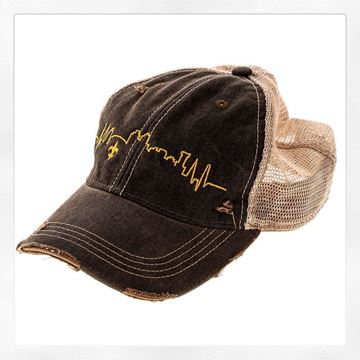 NOLA Skyline Vintage Black Cotton Brown Tint Trucker's Hat