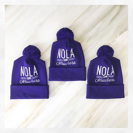 Nola or Nowhere Mardi Gras Pom Pom Hat