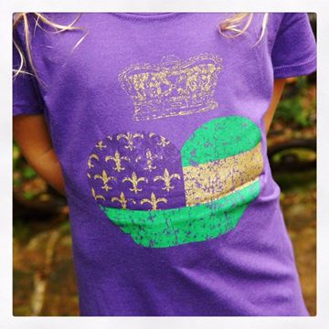 Mardi Gras Heart & Crown Kid's Short Sleeve Tee