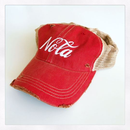 NOLA Red Vintage Truckers Hat
