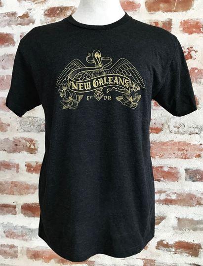 NOLA Pelican Unisex Tri-Blend Black Crew Neck Tee