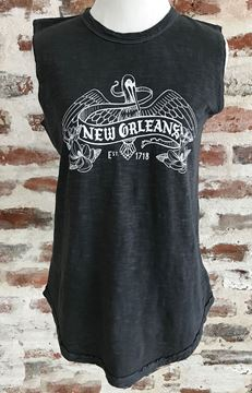 NOLA Pelican Ladies Garment Dyed Slub Sleeveless T-Shirt