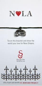 """NOLA Love"", New Orleans Streetcar Dark Green String Bracelet"