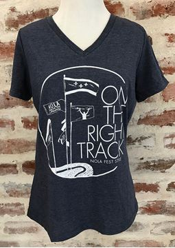 On the Right Track Ladies' Relaxed Jersey Short Sleeve V-neck Tee