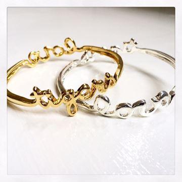 Tigers - LOVE Gold Plated Bangle Bracelet