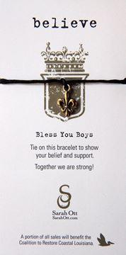 Believe, Fleur De Lis Black Linen String Bracelet