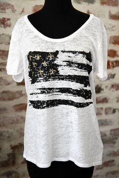 Black & Gold Fleur De Lis Flag Wide U Neck Burnout Tee