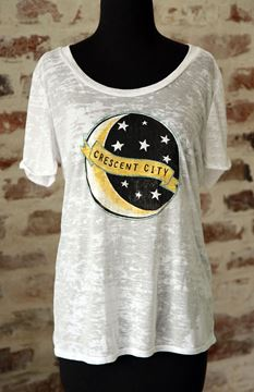 Crescent City Wide U Neck Burnout Tee