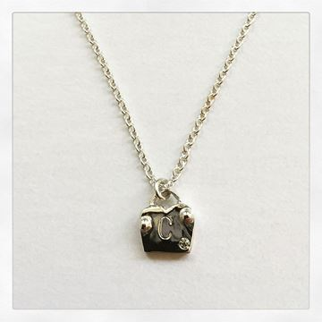 """""""Love Locks"""" Sterling Silver Charm Necklace, with 1.1mm Cable Chain 16"""""""