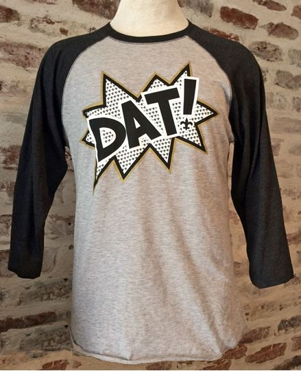"""DAT!"" Heather Gray With Smoke Vintage Baseball T-Shirt"