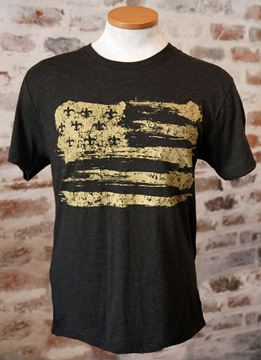 Gold Fleur De Lis Flag Unisex Tri-Blend Black Crew Neck Tee
