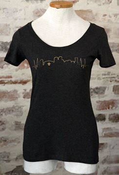 NOLA Skyline Vintage Black Ladies Tri-blend Scoop Neck Tee