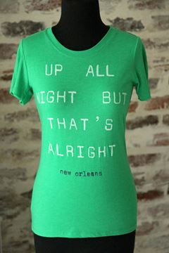 Up All Night But That's Alright Ladies Tri-blend Short Sleeve Crew Neck Tee