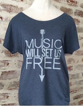 Music Will Set Us Free Indigo Blue Tri-Blend Dolman Tee