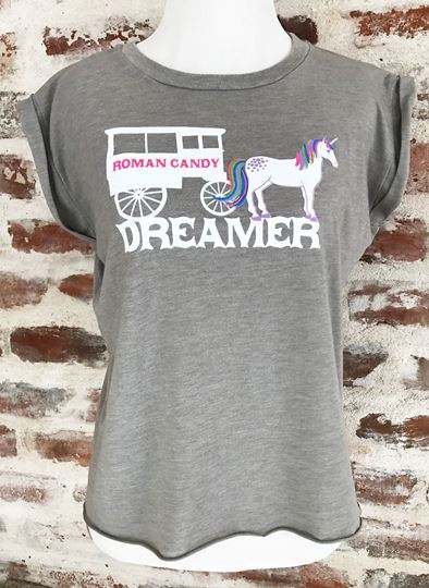 """""""Dreamer"""" Ladies' Flowy Muscle Tee with Rolled Cuff"""