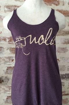 NOLA Strings Vintage Purple Ladies Tri-blend Racerback Tank