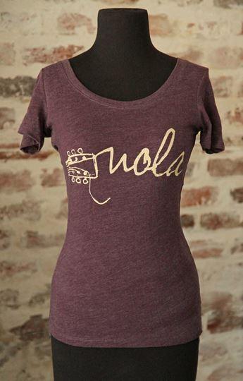 NOLA Strings Vintage Purple Ladies Tri-blend Scoop Neck Tee