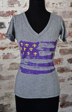 Purple & Gold Fleur De Lis Flag Ladies Tri-blend Deep V-Neck Tee