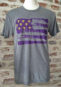 Purple & Gold Fleur De Lis Flag Unisex Tri-Blend Gray Crew Neck Tee