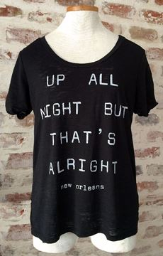 Up All Night But That's Alright Wide U Neck Black Burnout Tee